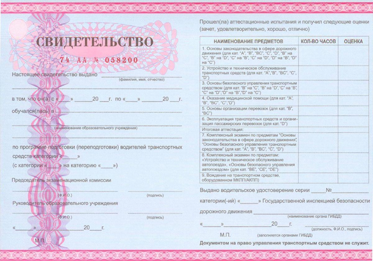 сертификат об окончании автошколы